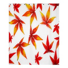 Colorful Autumn Leaves On White Background Shower Curtain 60  X 72  (medium)