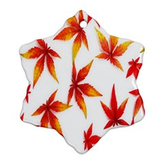 Colorful Autumn Leaves On White Background Snowflake Ornament (two Sides)
