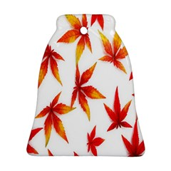 Colorful Autumn Leaves On White Background Bell Ornament (two Sides)