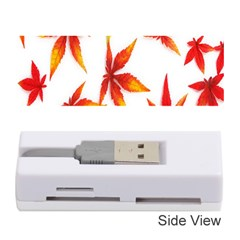 Colorful Autumn Leaves On White Background Memory Card Reader (stick)