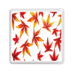 Colorful Autumn Leaves On White Background Memory Card Reader (square)