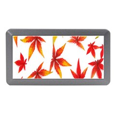 Colorful Autumn Leaves On White Background Memory Card Reader (Mini)