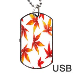 Colorful Autumn Leaves On White Background Dog Tag USB Flash (Two Sides)