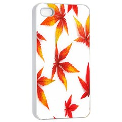 Colorful Autumn Leaves On White Background Apple iPhone 4/4s Seamless Case (White)