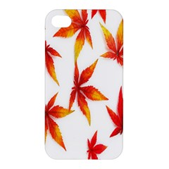 Colorful Autumn Leaves On White Background Apple Iphone 4/4s Premium Hardshell Case