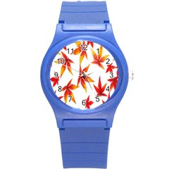Colorful Autumn Leaves On White Background Round Plastic Sport Watch (S)
