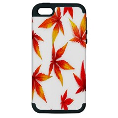 Colorful Autumn Leaves On White Background Apple iPhone 5 Hardshell Case (PC+Silicone)