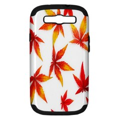 Colorful Autumn Leaves On White Background Samsung Galaxy S III Hardshell Case (PC+Silicone)