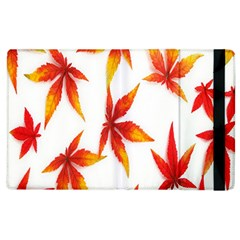 Colorful Autumn Leaves On White Background Apple Ipad 3/4 Flip Case