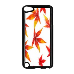 Colorful Autumn Leaves On White Background Apple iPod Touch 5 Case (Black)