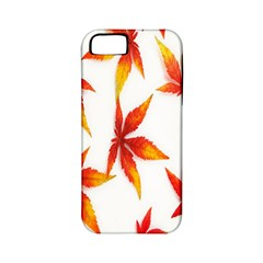 Colorful Autumn Leaves On White Background Apple Iphone 5 Classic Hardshell Case (pc+silicone)