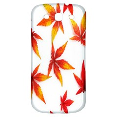 Colorful Autumn Leaves On White Background Samsung Galaxy S3 S III Classic Hardshell Back Case