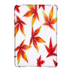Colorful Autumn Leaves On White Background Apple iPad Mini Hardshell Case (Compatible with Smart Cover)