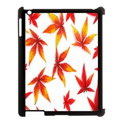 Colorful Autumn Leaves On White Background Apple iPad 3/4 Case (Black)
