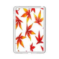 Colorful Autumn Leaves On White Background iPad Mini 2 Enamel Coated Cases