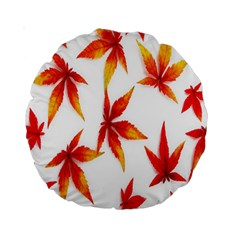 Colorful Autumn Leaves On White Background Standard 15  Premium Round Cushions