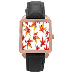 Colorful Autumn Leaves On White Background Rose Gold Leather Watch