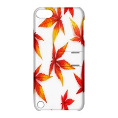 Colorful Autumn Leaves On White Background Apple iPod Touch 5 Hardshell Case with Stand