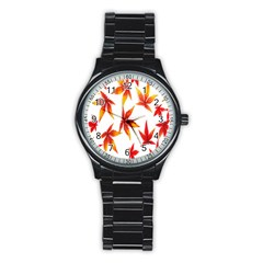 Colorful Autumn Leaves On White Background Stainless Steel Round Watch