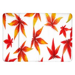 Colorful Autumn Leaves On White Background Samsung Galaxy Tab 8.9  P7300 Flip Case