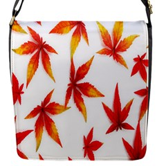 Colorful Autumn Leaves On White Background Flap Messenger Bag (S)