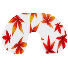 Colorful Autumn Leaves On White Background Travel Neck Pillows