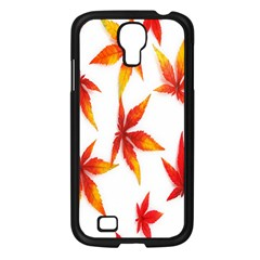 Colorful Autumn Leaves On White Background Samsung Galaxy S4 I9500/ I9505 Case (black)