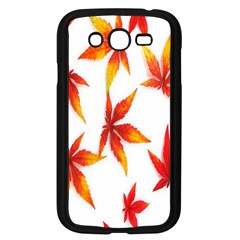 Colorful Autumn Leaves On White Background Samsung Galaxy Grand DUOS I9082 Case (Black)