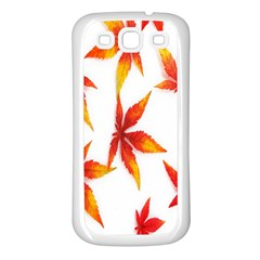 Colorful Autumn Leaves On White Background Samsung Galaxy S3 Back Case (White)