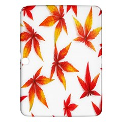 Colorful Autumn Leaves On White Background Samsung Galaxy Tab 3 (10.1 ) P5200 Hardshell Case