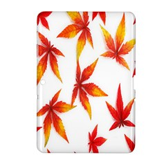 Colorful Autumn Leaves On White Background Samsung Galaxy Tab 2 (10.1 ) P5100 Hardshell Case