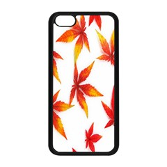 Colorful Autumn Leaves On White Background Apple iPhone 5C Seamless Case (Black)