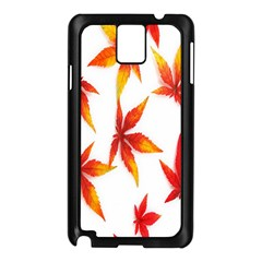 Colorful Autumn Leaves On White Background Samsung Galaxy Note 3 N9005 Case (black)