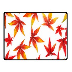 Colorful Autumn Leaves On White Background Double Sided Fleece Blanket (Small)