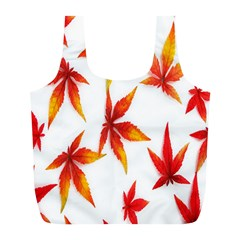 Colorful Autumn Leaves On White Background Full Print Recycle Bags (l)
