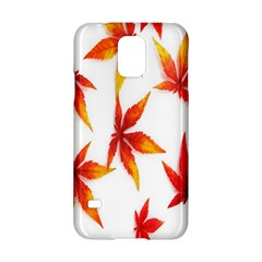 Colorful Autumn Leaves On White Background Samsung Galaxy S5 Hardshell Case