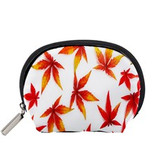 Colorful Autumn Leaves On White Background Accessory Pouches (Small)