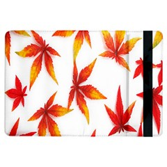 Colorful Autumn Leaves On White Background iPad Air Flip