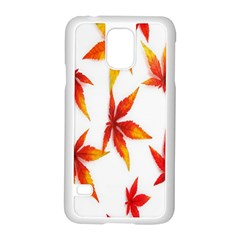 Colorful Autumn Leaves On White Background Samsung Galaxy S5 Case (White)