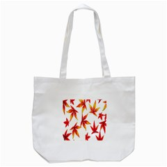 Colorful Autumn Leaves On White Background Tote Bag (White)