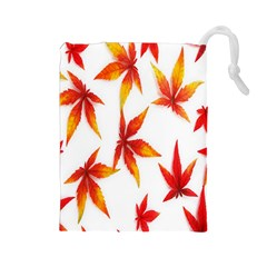 Colorful Autumn Leaves On White Background Drawstring Pouches (large)