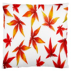 Colorful Autumn Leaves On White Background Standard Flano Cushion Case (Two Sides)