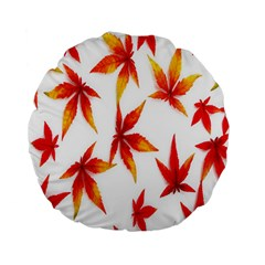 Colorful Autumn Leaves On White Background Standard 15  Premium Flano Round Cushions