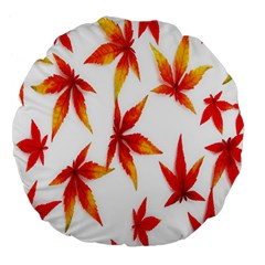 Colorful Autumn Leaves On White Background Large 18  Premium Flano Round Cushions