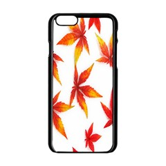 Colorful Autumn Leaves On White Background Apple iPhone 6/6S Black Enamel Case