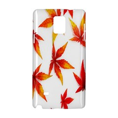 Colorful Autumn Leaves On White Background Samsung Galaxy Note 4 Hardshell Case