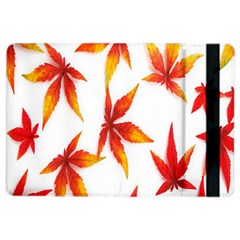 Colorful Autumn Leaves On White Background Ipad Air 2 Flip