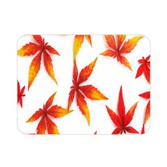 Colorful Autumn Leaves On White Background Double Sided Flano Blanket (Mini)