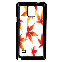 Colorful Autumn Leaves On White Background Samsung Galaxy Note 4 Case (black)
