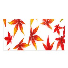 Colorful Autumn Leaves On White Background Satin Shawl